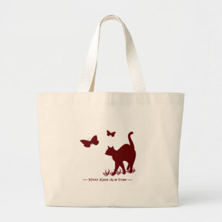 Kitty Cats R Free - Red / Maroon Large Tote Bag