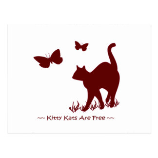 Kitty Cats R Free - Red / Maroon Postcard