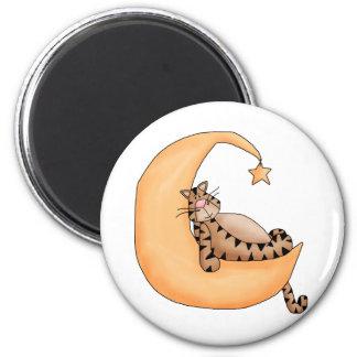 Kitty Cats · Tabby Cat in the Moon Fridge Magnet