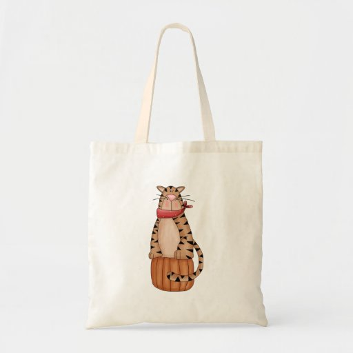 Kitty Cats · Tabby Cat on Pumpkin Canvas Bag