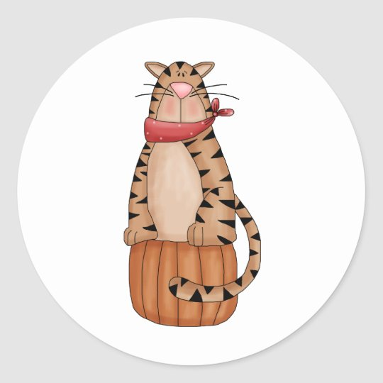 Kitty Cats · Tabby Cat on Pumpkin Classic Round Sticker