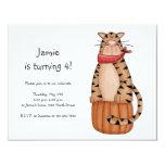 "Kitty Cats · Tabby Cat on Pumpkin 4.25"" X 5.5"" Invitation Card"