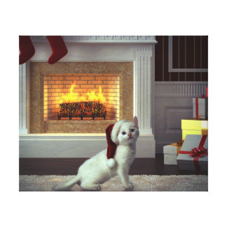 Kitty Christmas Canvas Print