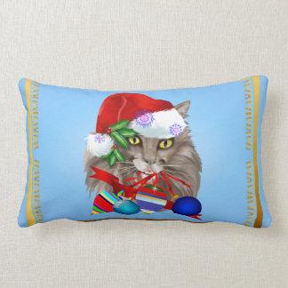 Kitty Christmas Decorations Lumbar Pillow