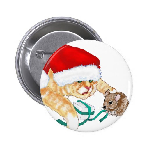 Kitty Claus Pinback Buttons