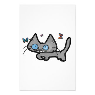 Kitty Curls Up With Butterflies Around Him Stationery Design