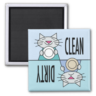 Kitty dishwasher clean dirty 2 inch square magnet
