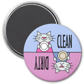 Kitty dishwasher clean dirty blue pink 3 inch round magnet
