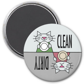 Kitty dishwasher clean dirty in grey 3 inch round magnet