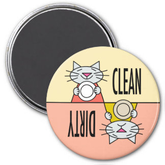 Kitty dishwasher clean dirty orange yellow 3 inch round magnet