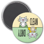 Kitty dishwasher clean dirty refrigerator magnets