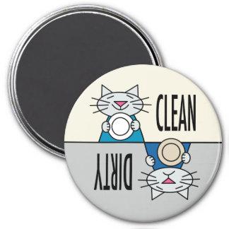 Kitty dishwasher grey turquoise 3 inch round magnet