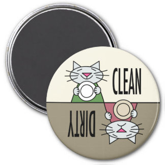 Kitty dishwasher muted colors 3 inch round magnet