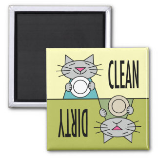 Kitty dishwasher soft green yellow magnet