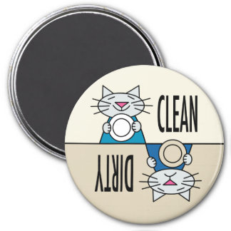 Kitty dishwasher tan turquoise 3 inch round magnet
