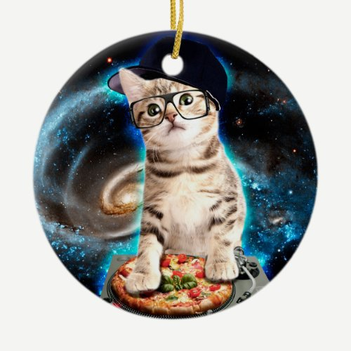kitty dj cat ceramic ornament