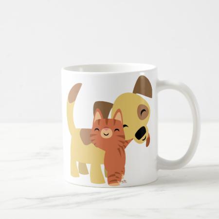 Kitty & Doggy cartoon mug