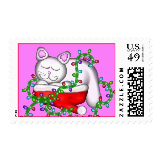 Kitty Dreaming of Christmas Postage
