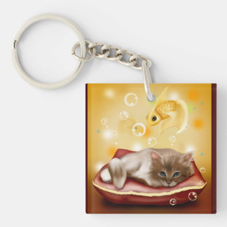 Kitty Dreams Keychain