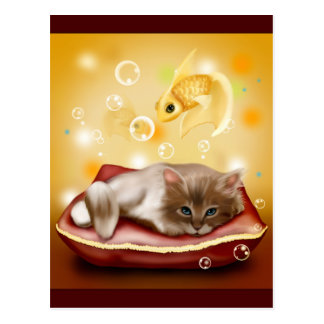 Kitty Dreams Postcard