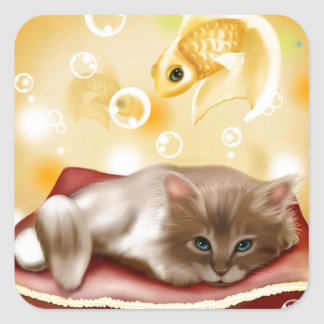 Kitty Dreams Square Sticker