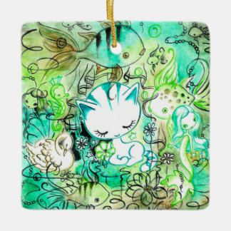 Kitty Dreamscape II Ceramic Ornament