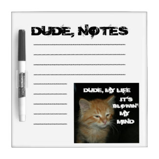 "Kitty ""DUDE, MY LIFE"" Dry Erase Board"