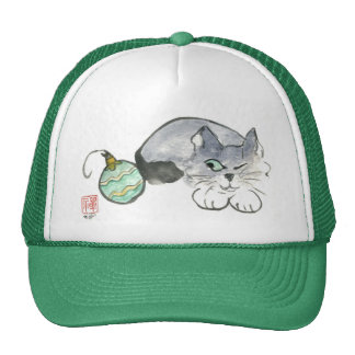 Kitty Eyes a Green and Gold Ornament Trucker Hat