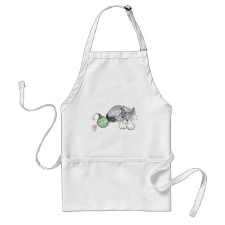 Kitty Eyes a Green & Gold Ornament Adult Apron