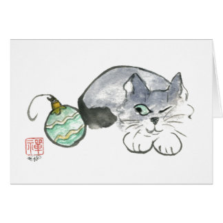 Kitty eyes a Green & Gold Ornament Greeting Card