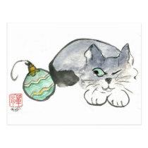 Kitty Eyes a Green & Gold Ornament Postcard