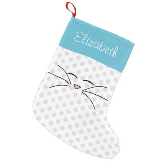 Kitty Face Blue and Silver Personalized Small Christmas Stocking