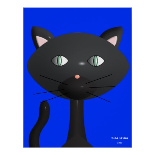 Kitty face with primary blue background poster