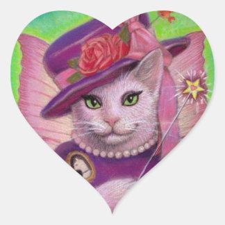 Kitty Fairy Godmother Heart Stickers