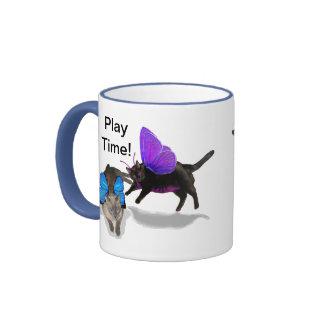 kitty fairy play time blue purple siamese mugs