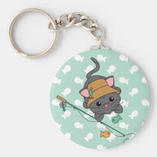 Kitty Fishing Keychain