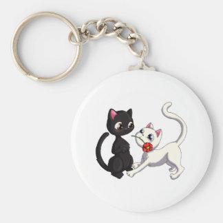 Kitty Flower Basic Round Button Keychain