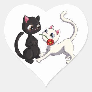 Kitty Flower Heart Sticker
