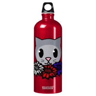 Kitty & Flowers Aluminum Water Bottle