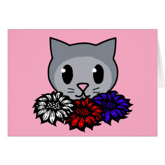 Kitty & Flowers for Kids Card