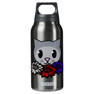Kitty & Flowers for Kids Insulated Water Bottle