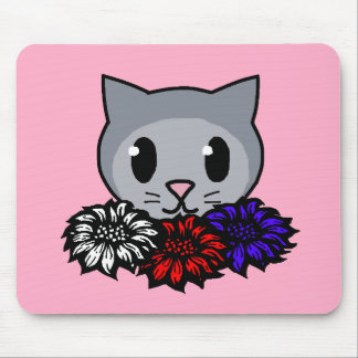 Kitty & Flowers for Kids Mouse Pad