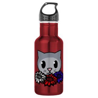 Kitty & Flowers for Kids Stainless Steel Water Bottle