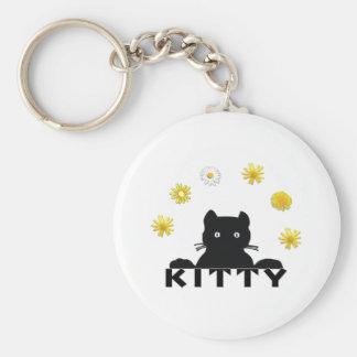 Kitty Flowers Basic Round Button Keychain