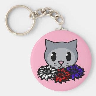 Kitty & Flowers Keychain