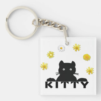 Kitty Flowers Double-Sided Square Acrylic Keychain