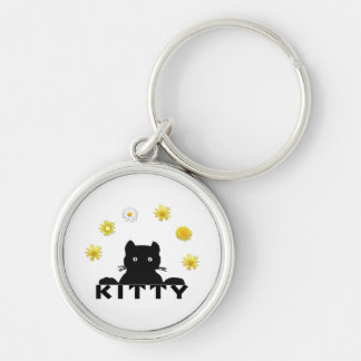 Kitty Flowers Silver-Colored Round Keychain