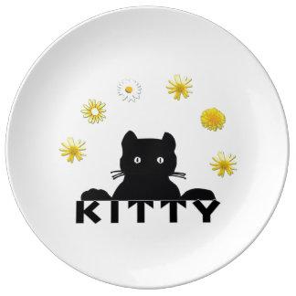 Kitty Flowers Porcelain Plates