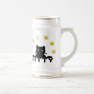 Kitty Flowers 18 Oz Beer Stein