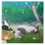 Kitty Fun with Fireflies Tile